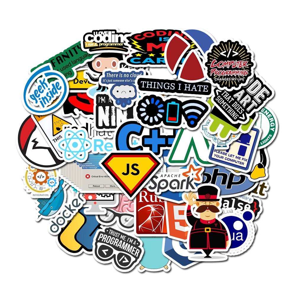 New 50Pcs/Set Programming Sticker Technology Software Programs Data Computer Sticker for Geek DIY Computer Laptop Phone Notebook