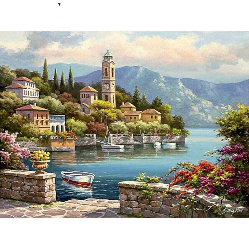 Pinturas de entrada al lago por números, cuadros DIY, pintura al óleo por conjunto de números, dibujo de regalo por números, lienzo DIY, novedades