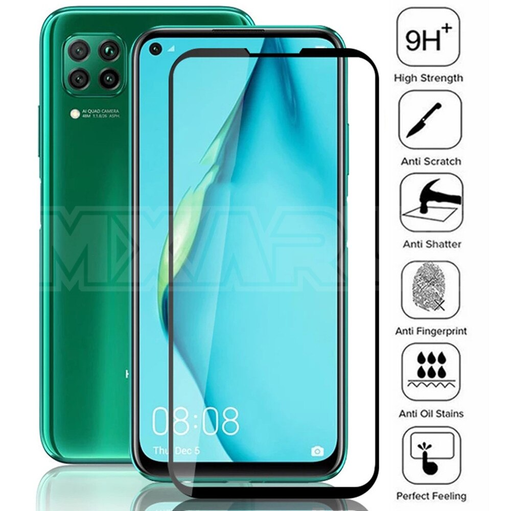 9D Protective Glass on For Huawei P20 Pro P10 Plus P30 P40 Lite E P Smart Z 2019 Tempered Screen Protector Glass Protection Film