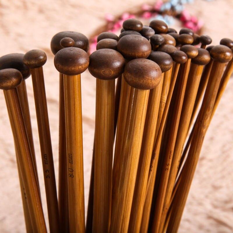 Set de agujas de tejer DIY madera de bambú 18 tamaños respetuoso con el medio ambiente doble ganchillo 36cm puntiagudo herramienta para tejer