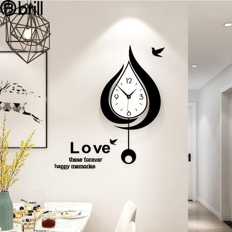 Nordic Simple Wall Clock Modern Design Water Drop Clocks Wall Home Decor Fashion Living Room Decoration Quartz Clock Silent Gift