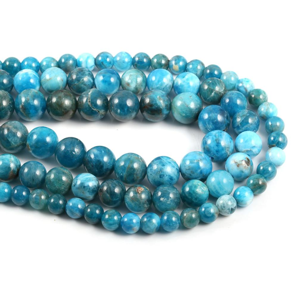 Natural Stone Blue Apatite Stone Beads Loose Bead Spacer Beads For jewelry making DIY Necklace Bracelet Accessories 6 8 10mm