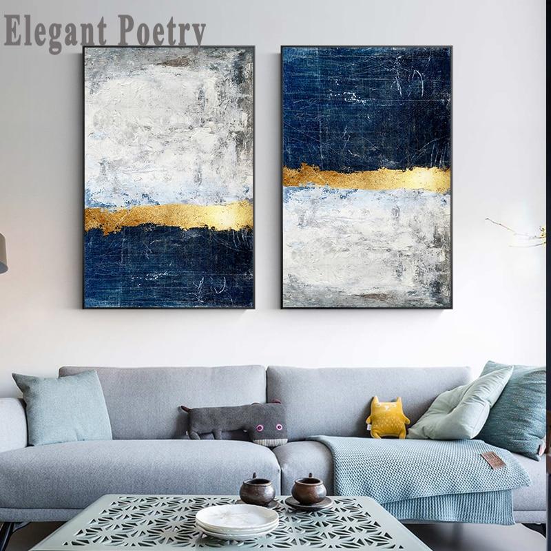 Pintura Abstracta del bloque de la hoja de oro pintura del cartel azul pintura moderna del arte de la pared de oro para la decoración de la Marina de la sala de estar Tableaux de gran tamaño