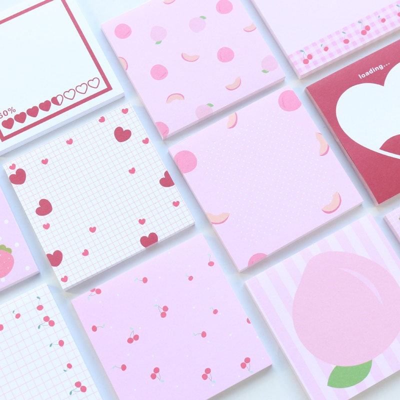 Domikee cute kawaii cartoon school student pocket notepad set girls message memo pad stationery supplies 50 sheets
