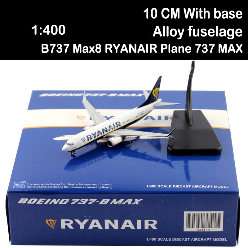 1/400 B737 Max8 RYANAIR Plane 737 MAX RYAN AIR Passenger Air Plane Airline Aircraft Airliner Model Toy No Undercarriage Display