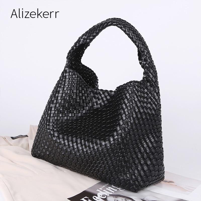 سعة كبيرة المنسوجة حمل حقائب اليد النساء 2021 الفاخرة ملابس علوية مميزة جودة كبيرة لينة محفظة وحقيبة يد السيدات حقيبة كتف عادية
