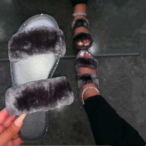 New 2020 autumn winter fox hair soft Double layer smooth flat rhinestone casual all-match our slippers outdoor women sandals