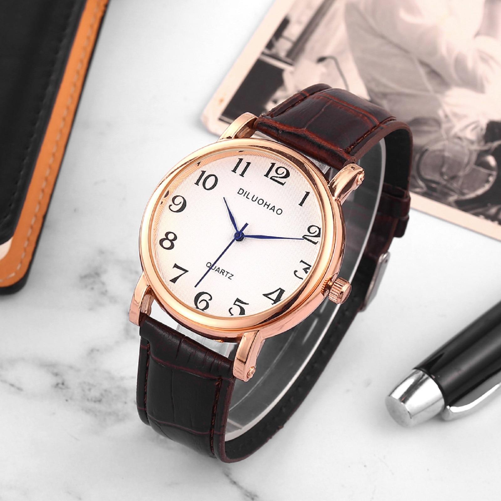 Men's Women's Quartz Watch Arabic Numerals Big Dial Watch for Couple Retro Brown Black Leather Strap