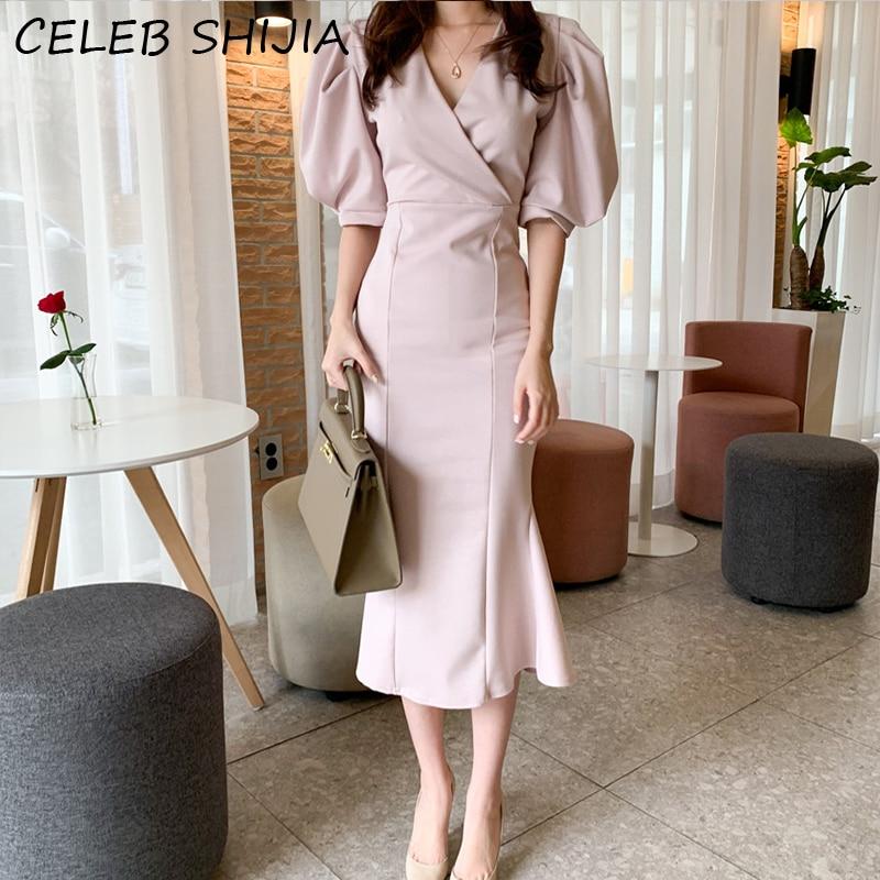 SHIJIA New 2020 Summer Women's Dresses Pink Fashionable Vintage Puff Sleeve Elegant Package Hip Trumpet Long Dress korean chic