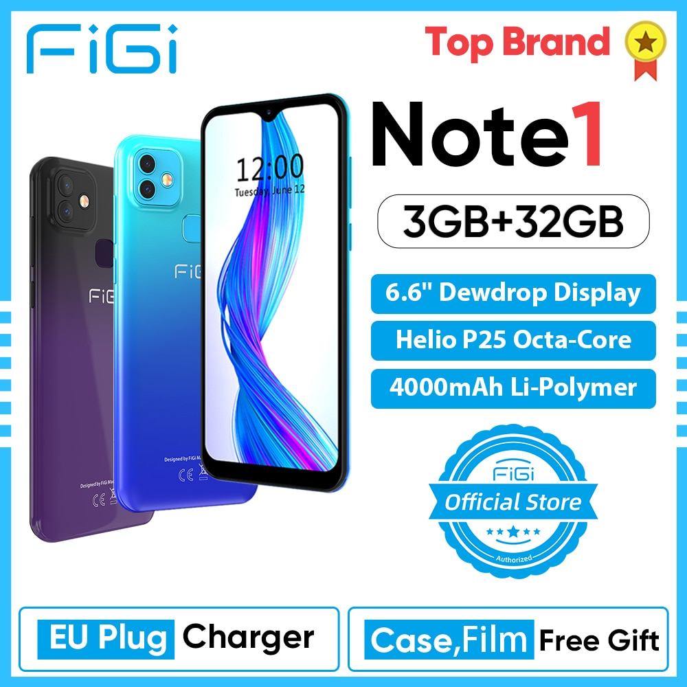 FIGI Note 1 Smartphone 6.6inch Display 4000mAh Battery MTK Helio P25 Octa Core 3GB 32GB Mobile phone 13MP Dual Cameras Telephone