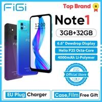 FIGI Note 1 смартфон 6,6 дюймов Дисплей 4000 мА/ч, Батарея MTK Helio P25 Octa Core, 3 Гб оперативной памяти, 32 Гб встроенной памяти, мобильный телефон 13MP двойной ...