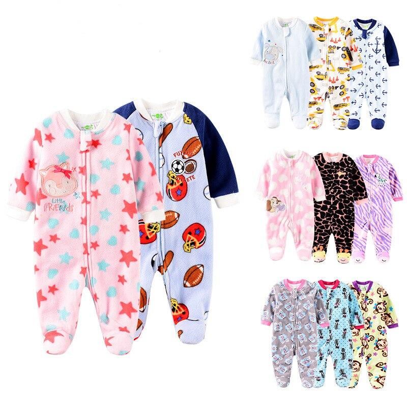 Newborn Baby Girl Clothes 0-12 Months Infant Boys Polar Fleece Zipper Style Double-Deck Footies Autumn Winter Jumpsuit One Piece
