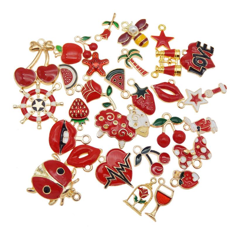 GraceAngie 10 Uds encantos de esmalte al azar frutas mixtas animales flores aleación colgantes collar pendientes joyería accesorio