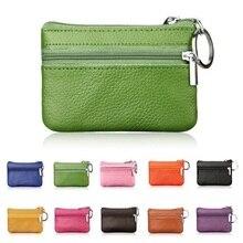 Mini porte-clé en cuir PU porte-monnaie pour femmes petit porte-monnaie changement de sacs dargent poche portefeuilles poche à glissière