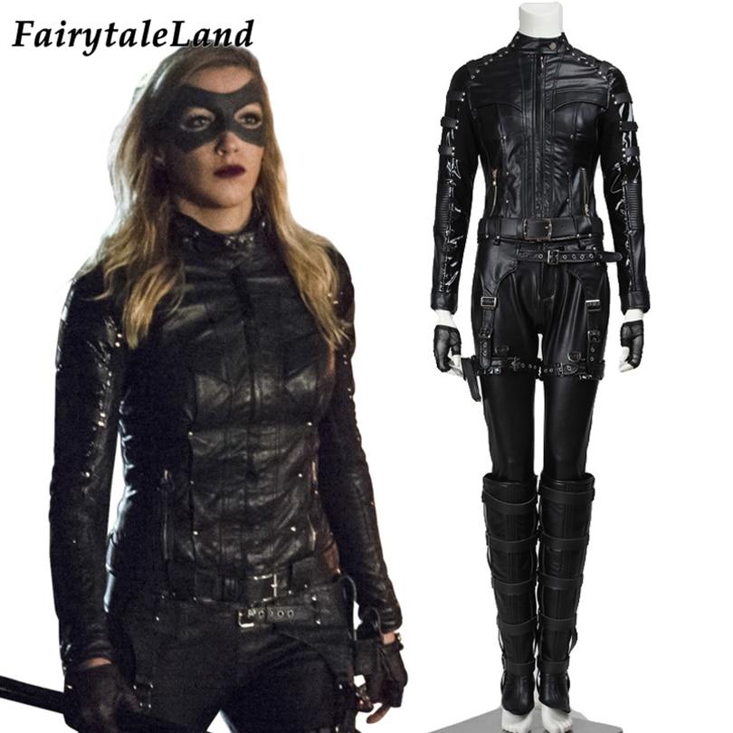 Green Arrow Black Canary Costume Carnival Halloween Black Outfit TV Superheroine Sara Lance Clothing