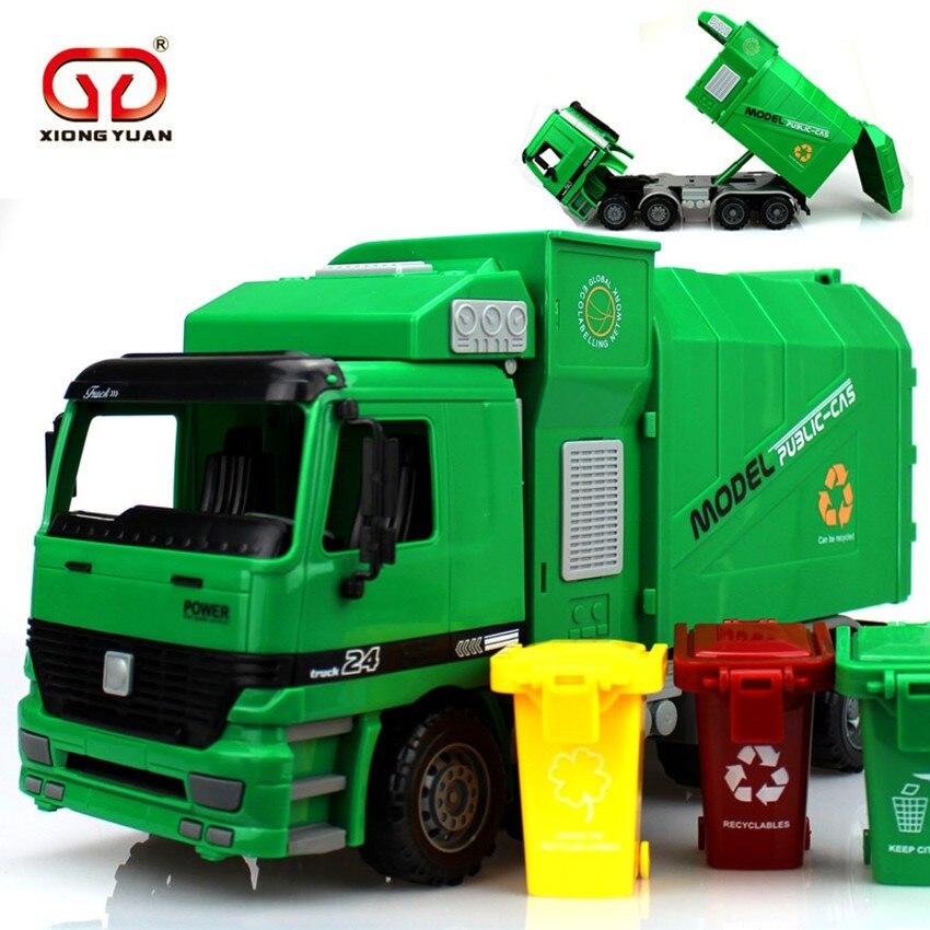 [Geschenk] Große Größe Seite Laden Müll transfer auto tricolor grünen müll verkehrs hygiene Lkw Kann Angehoben Werden Mit 3 Mülleimer