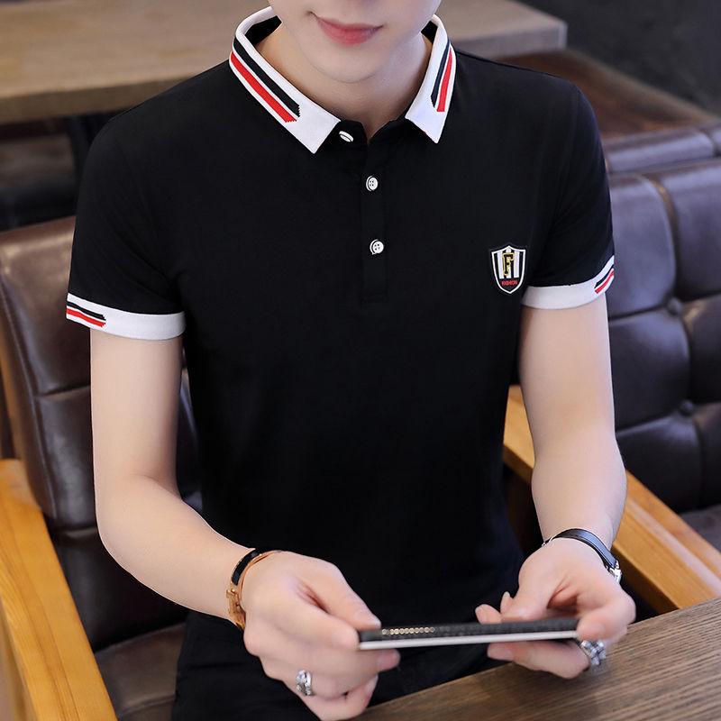 95 Cotton Men's Short Sleeve 2021 New Polo Shirt Solid Color Half-Sleeve T-shirt Men's Lapel Summer Shirt Collar Clothes