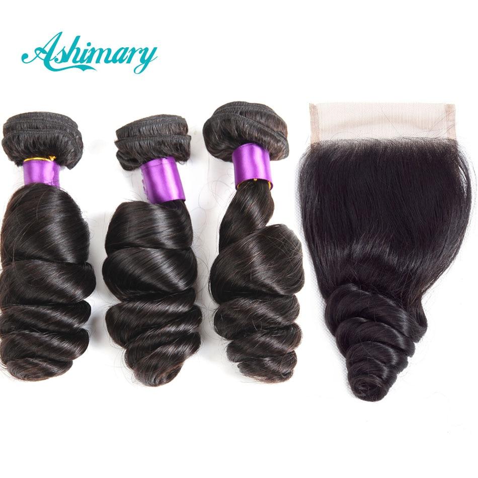 Ashimary-وصلات شعر بيرو ، مجموعة من 3 شرائط ، شعر بشري غير ريمي مع غطاء دانتيل ، قطعة مجانية