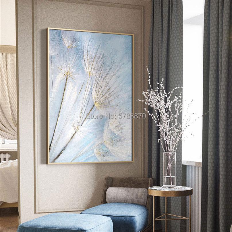 Pintura al óleo pintada a mano de 100% pintura al óleo sobre lienzo de diente de león pintura al óleo de pared de flores azul blanco imagen artística para la decoración del hogar de la sala de estar
