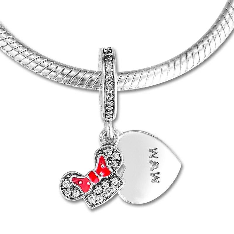 Mãe Sinal Do Amor Do Coração & Cabeça Arco Contas de Cristal para Mulheres Pulseiras Encantos Cor Prata 925 Original бижутерия diy jóias