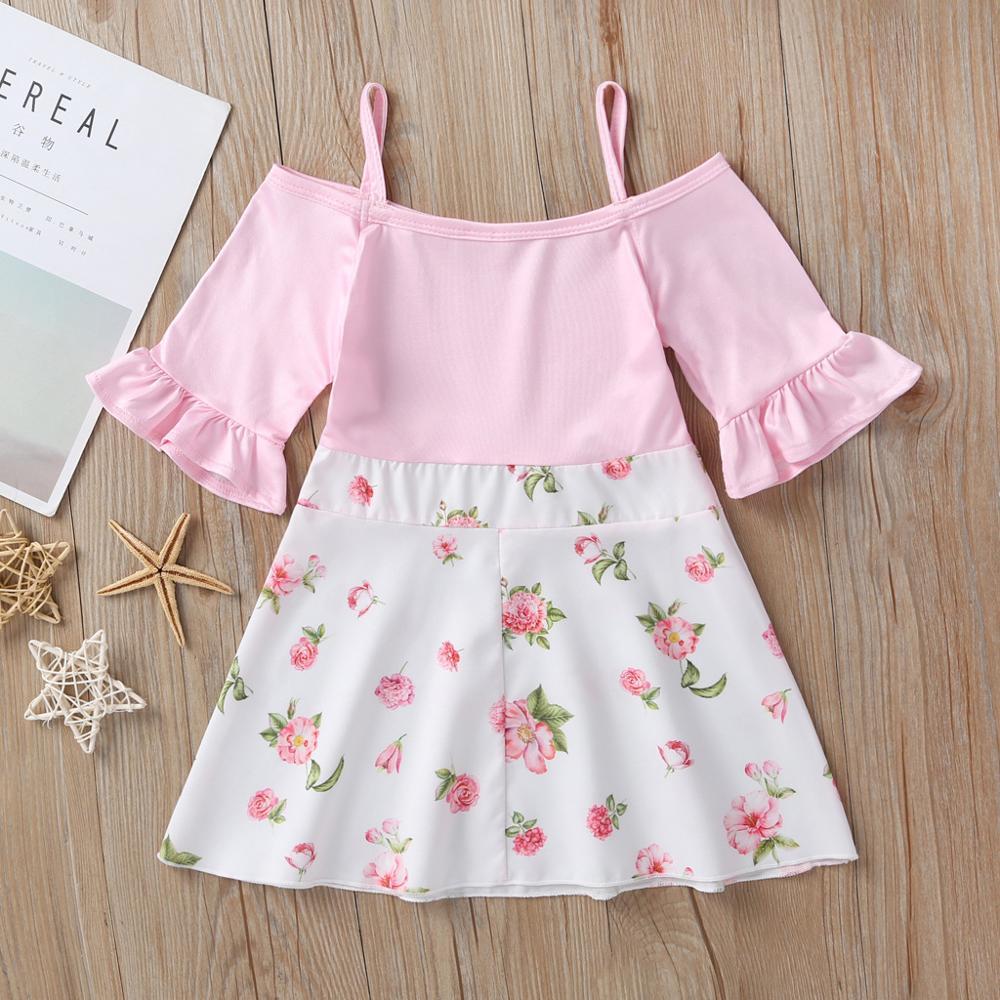 2020 niñas flor estampado princesa Drsses verano niños Correa hombro frío vestidos de fiesta Vestido de los niños ropa para niñas