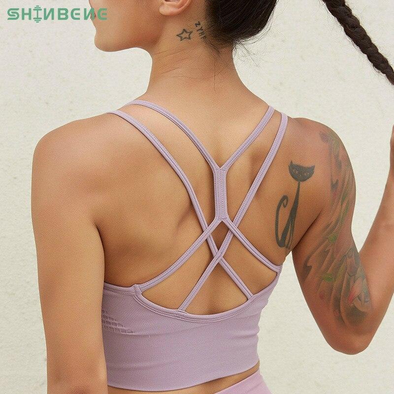 Shinbene strappy sem costura fitness workout sutiãs feminino colete-tipo simples ginásio atlético sutiãs esportivos superior meados de apoio sutiã de yoga
