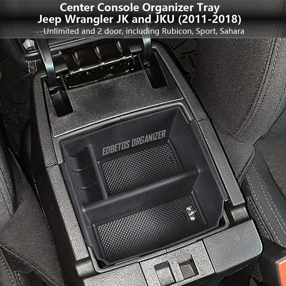 Organizador de apoyabrazos central bandeja para Jeep Wrangler JK y JKU 2011-2018 reposabrazos secundaria guante caja Wrangler accesorios contenedor