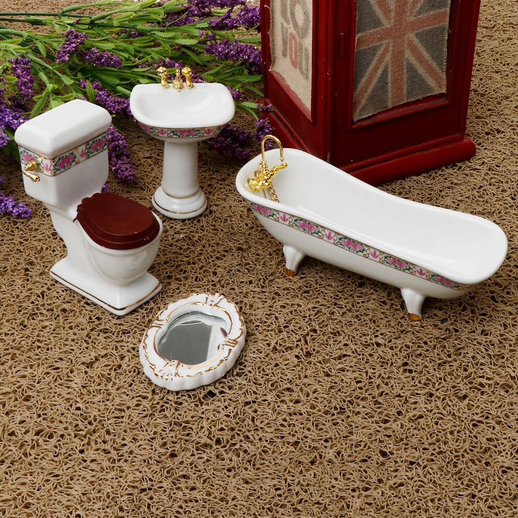 Conjunto de 4 Uds de muebles de baño de cerámica para casa de muñecas 1/12, accesorios en miniatura #2