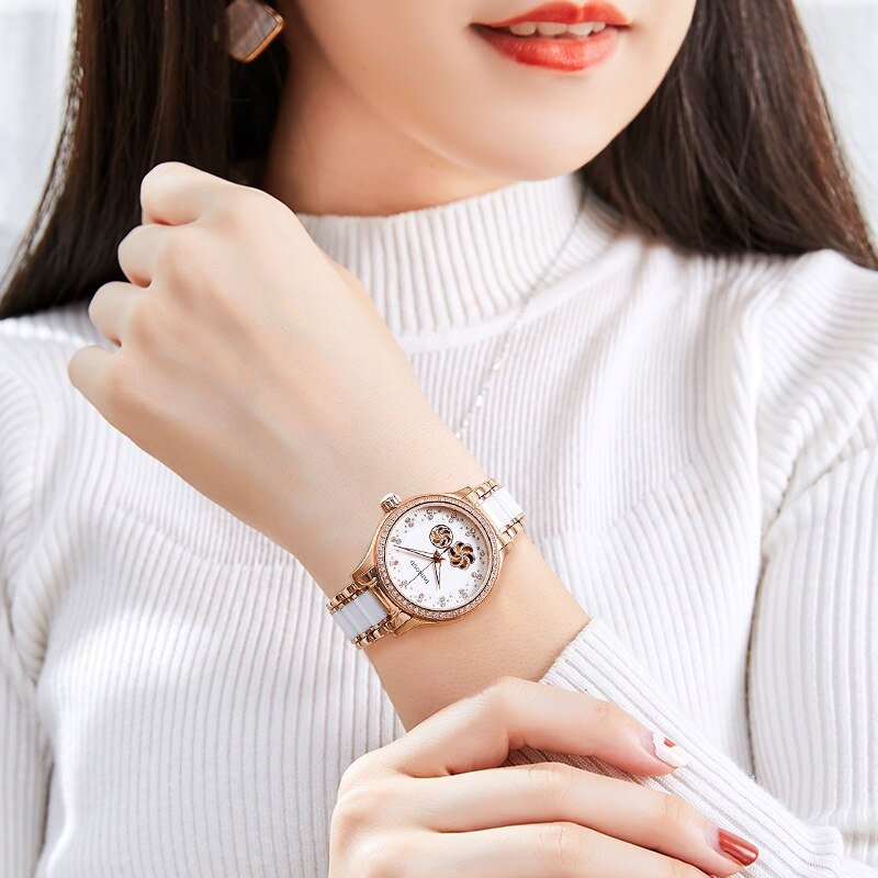 RUNOSD rose gold women's watch Miyota mechanical watch white ceramic strap crystal bright diamond dial three year warranty enlarge