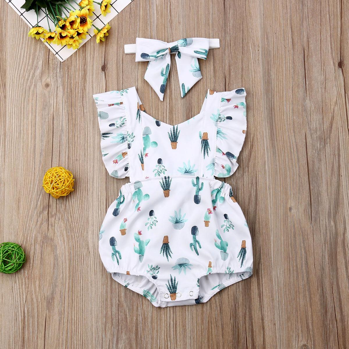 Pudcoco, ropa para bebé recién nacido, ropa de verano sin mangas con dibujo con Cactus, mono con cinta para cabello, 2 uds, conjuntos de traje de baño de algodón