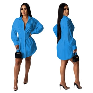 2021 New Spring And Autumn Women's Clothing Fashion Casual Solid Color Waist Casual Shirt Dress Nightclub