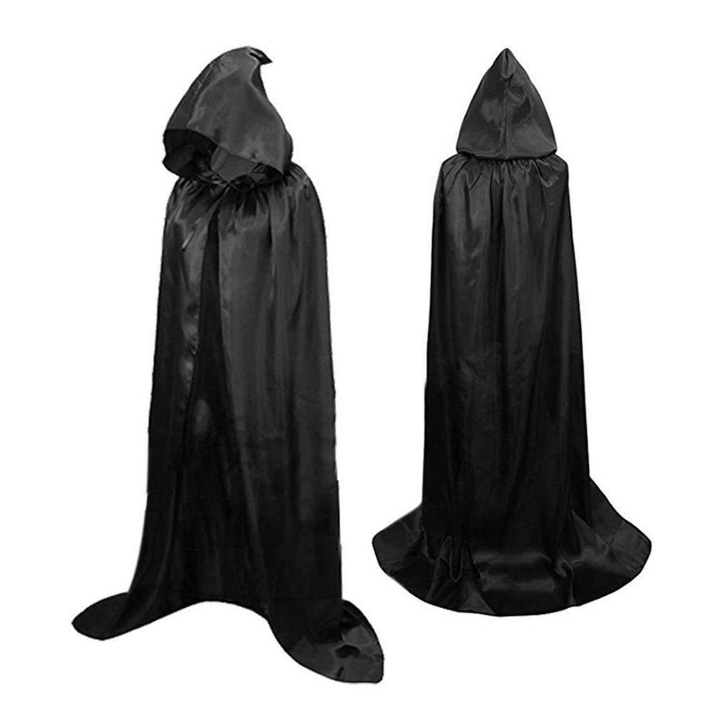 Halloween Costume Adult Death Cosplay Costumes Black Cloak Black Role Scary Witch Black Play Long Cloak Cosplay New Hooded newly halloween female death dress terror skull role playing suit cloak stage costume for women te889