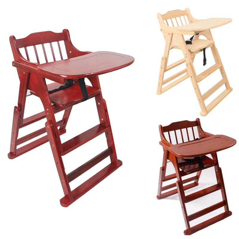 2021 Baby Wooden High Chair with Tray Foldable Dining Chair Perfect Adjustable Baby Highchair for Your Babies and Toddlers