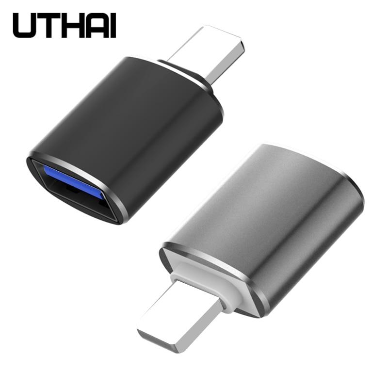 Uthai c56 relâmpago para usb3.0 adaptador leitor de cartão usb conectar flash drive mouse teclado câmera para iphone 7 8 11 x ios13