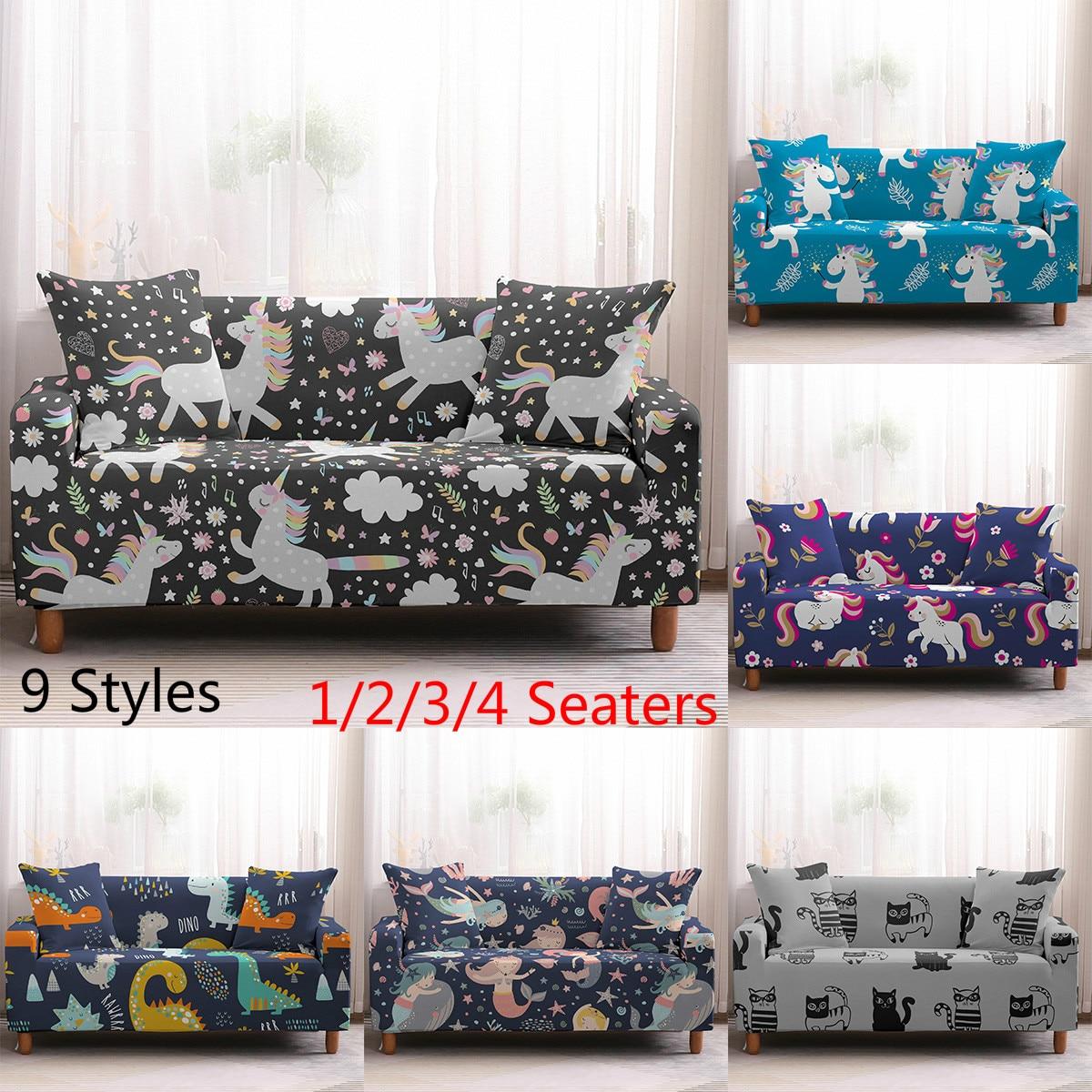 يونيكورن الكرتون غطاء أريكة الزاوية مرونة لغرفة المعيشة الخيال قابل للغسل لمط السماء الزرقاء غطاء أريكة I شكل