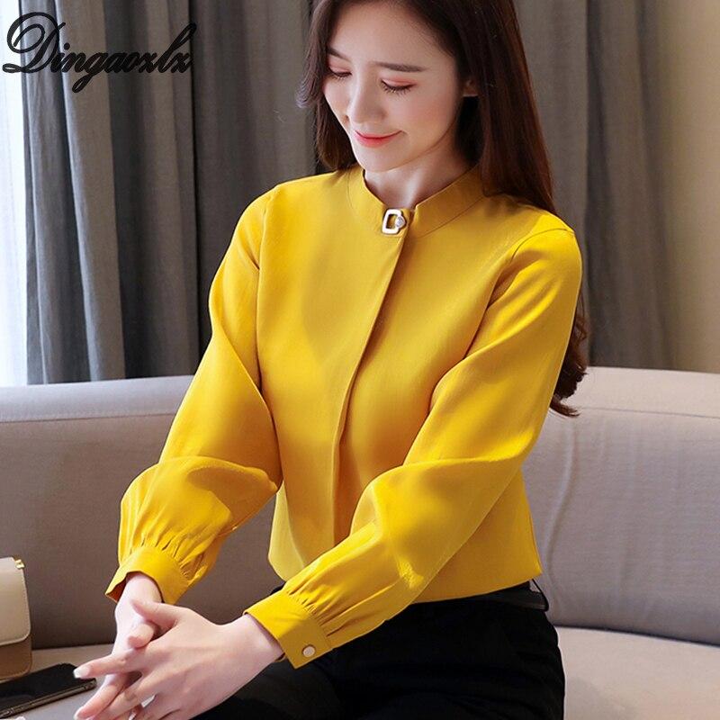 Dingaozlz 2020 nuevo tops y blusas para mujer de Color sólido OL camisa de manga larga de gasa Blusa camiseta