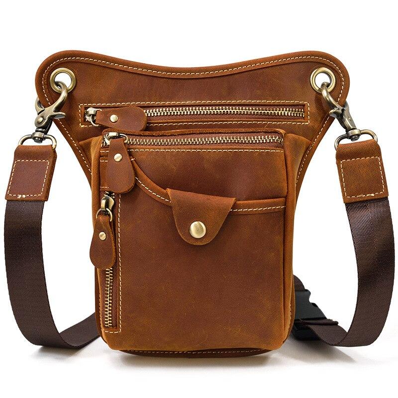 Newsbird الجلود دراجة نارية حقيبة الساق للرجال الذكور جلد البقر حقيبة كتف صغيرة التكتيكية حقيبة الساق s الخصر حقيبة متعددة الوظائف الرجال أكياس