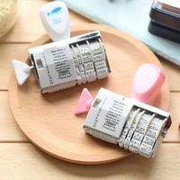 korean words and date journal stamps wheel rubber roller date stamp set stationary school stationery diary planner accessories
