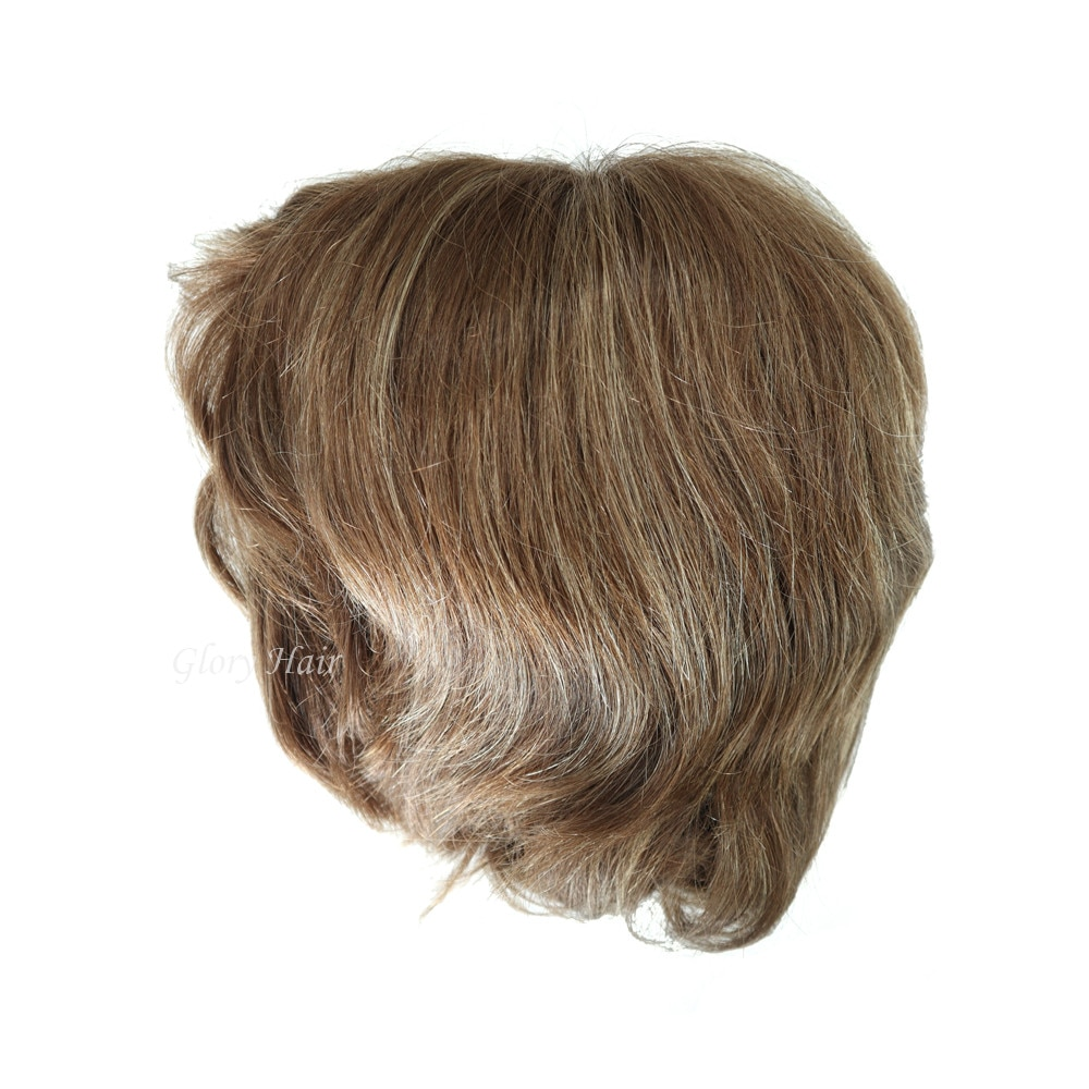GLORYHAIR - MT13E شعر مستعار أمامي من الدانتيل 3-5 بوصات ، شعر مستعار طبيعي ناعم ، شعر عذراء أوروبي ، قصير للنساء