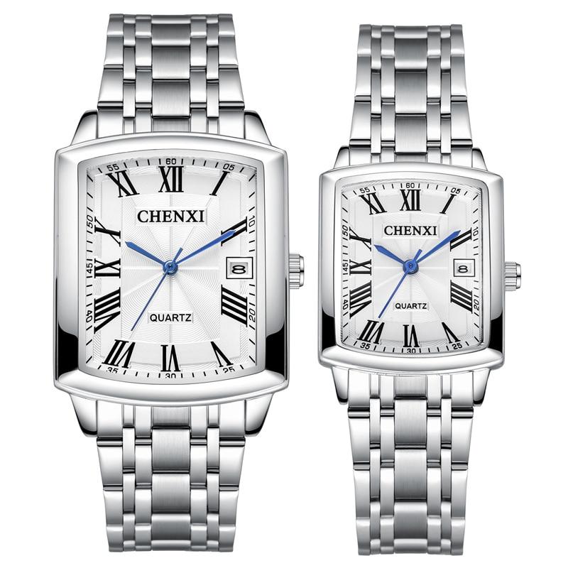 CHENXI Fashion Square Lover Watches Calendar Quartz Paired Bracelets Wristwatch Casual Dress Watch For Women Relogio Feminino