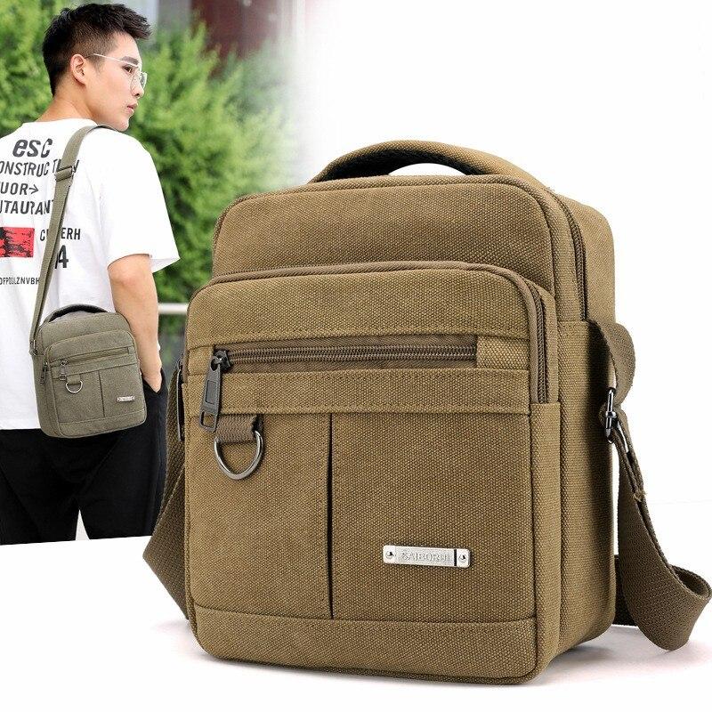 Men's Single Shoulder Straddle Bag Small Square Bag Canvas Shoulder Bag Casual Male Shoulder Backpac