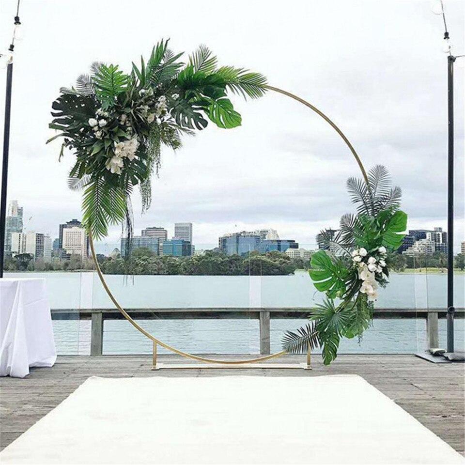 حفل زفاف عيد ميلاد قوس دائري الحديد المطاوع لتقوم بها بنفسك ترتيب الديكور خلفية الدعائم إطار خلفية الطرف مع الزهور
