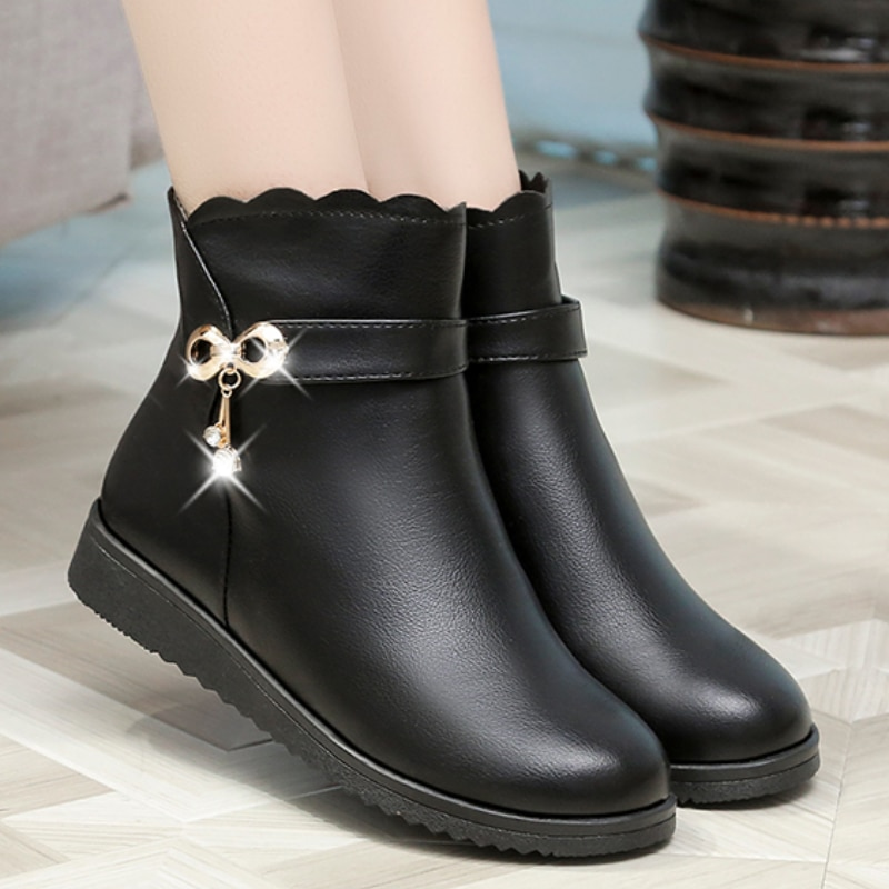 Women Boots Winter Warm Snow Shoes PU Leather Lace Metal Buckle With Flat Fashion Ladies Comfortable