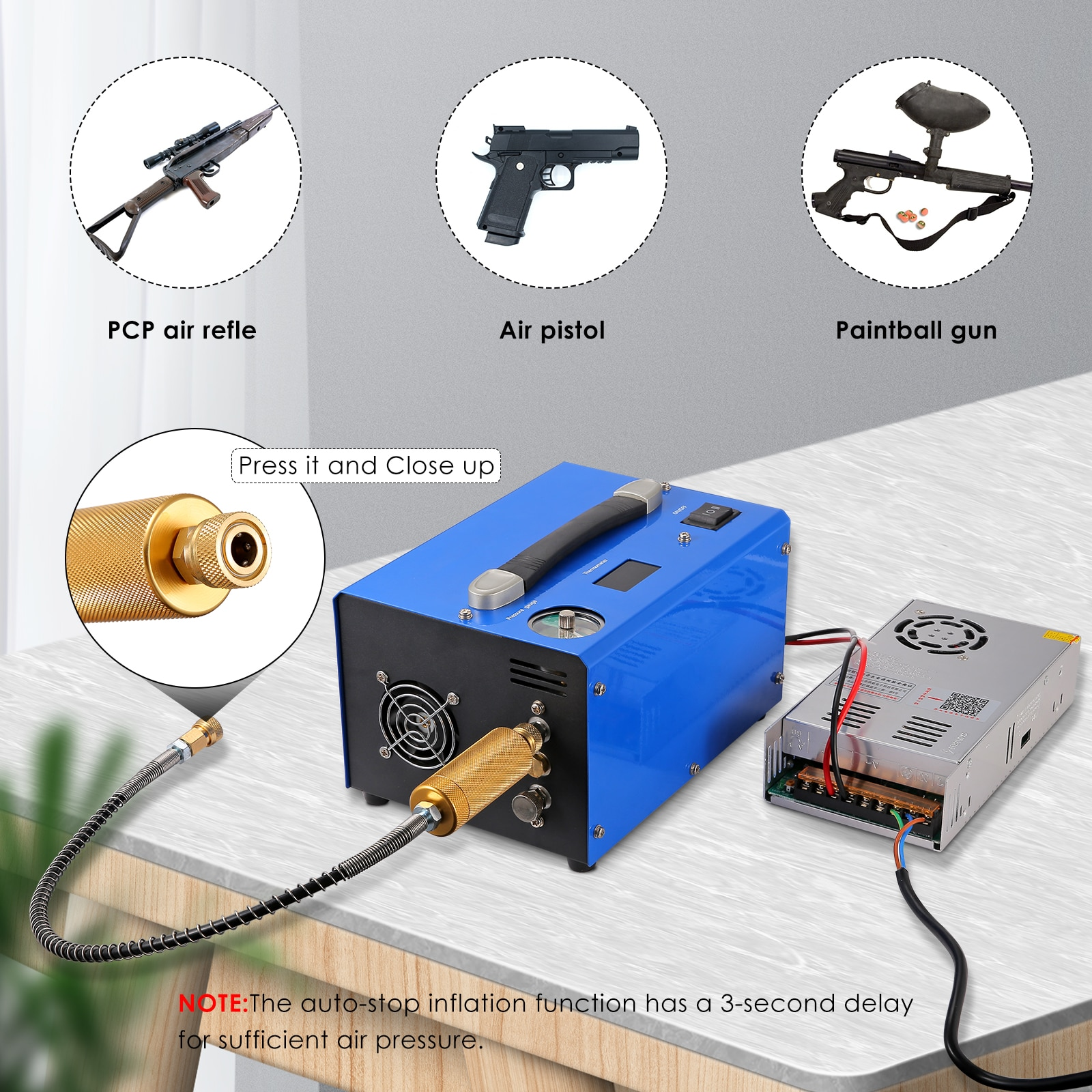 Portable PCP Air Compressor Oil//water-free Constant Pressure Gun Paintball Tank Pump With Water/oil Separator 4500Psi/30Mpa US enlarge