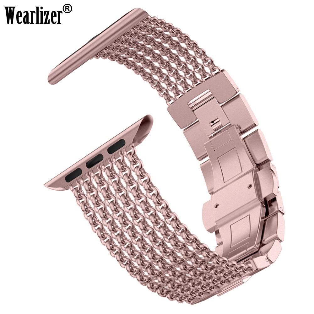 Wearlizer للحصول على سوار ساعة يد آبل 38 مللي متر iWatch شبكة حلقة Milanese سوار فولاذي غير قابل للصدأ استبدال حزام الأساور لساعة أبل