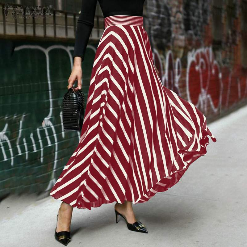 ZANZEA Women Elegant OL Work Skirts Summer High Waist Long Maxi Striped Skirts Casual Skirt Jupe Bohemian Beach Skirts Saia Robe beach maxi long skirt zanzea summer zipper skirts women elegant solid skirts bohemian skirt jupe female faldas saia oversized