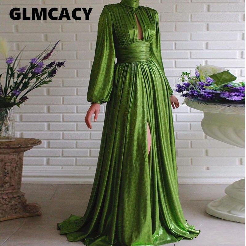 Блестящее Olivine Платье женское с длинным рукавом с низким вырезом Элегантное макси платье с разрезом