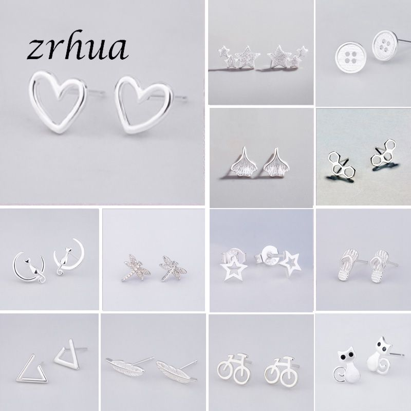 925 Sterling Silver Needle Women Jewelry Brincos S925 Stamp Stud Earrings for School Girl Kids Lady