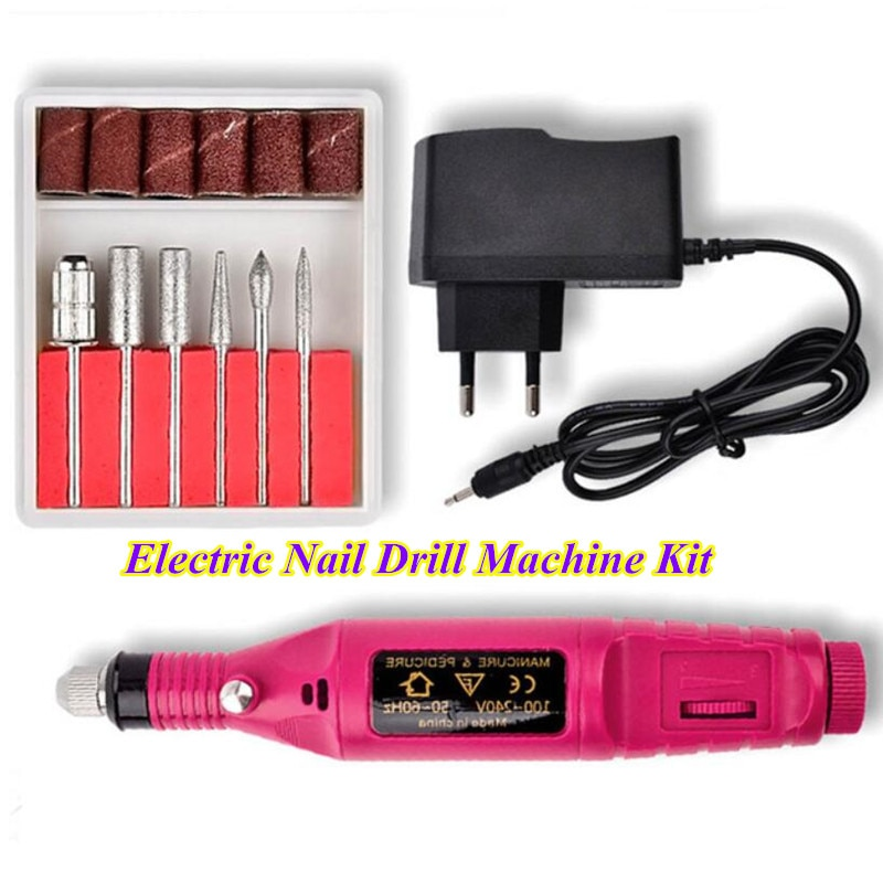 Professional Electric Nail Drill Machine Kit 1 Set 20000Rpm Mill Cutter Pedicure Nail File Manicure Polishing Nail Art Tools