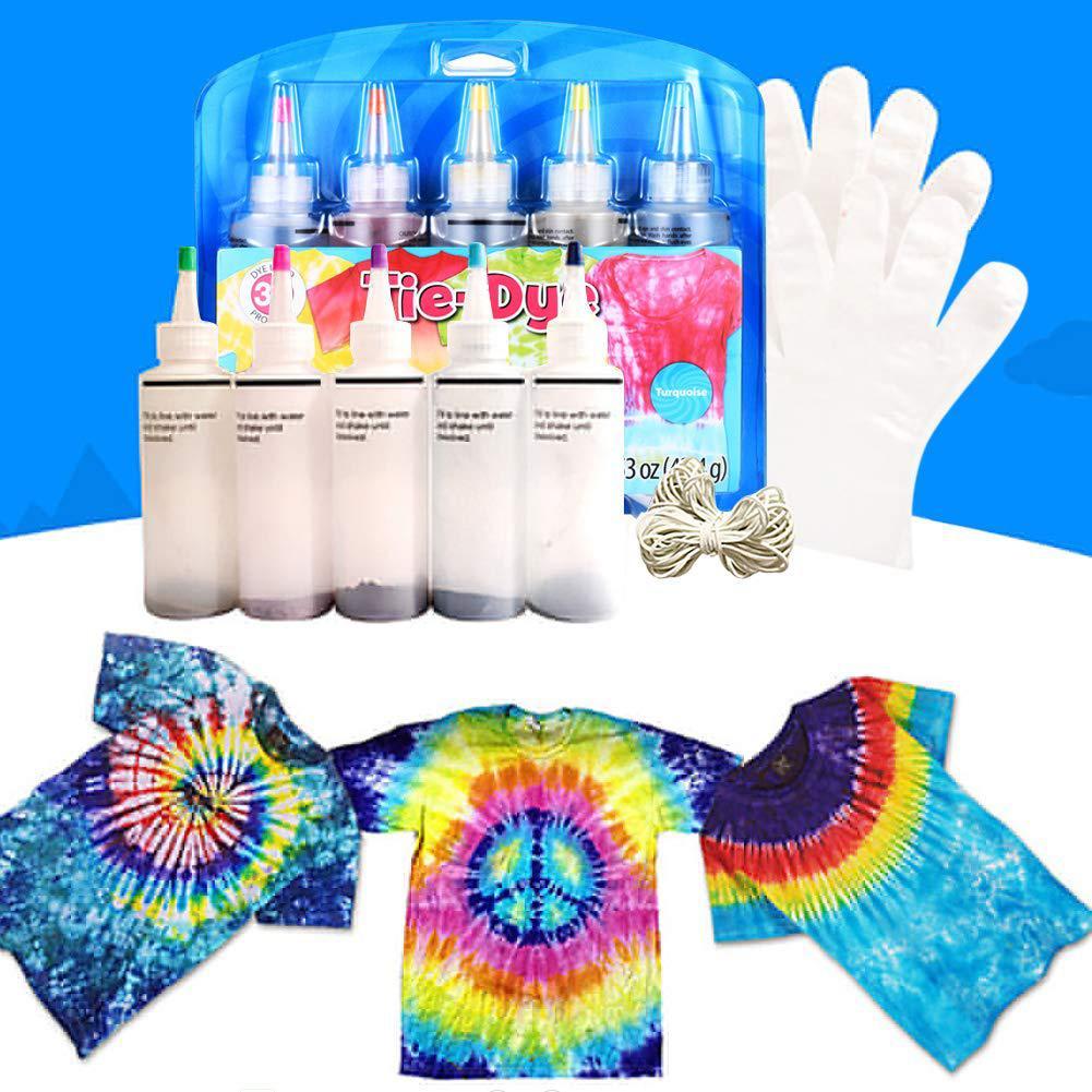 Tie Tye-Juego de tintas Tinte Ropa de Tinte, botella para tatuajes con grafiti, pigmento de pintura Permanente para niños, ornamento de colores no tóxico